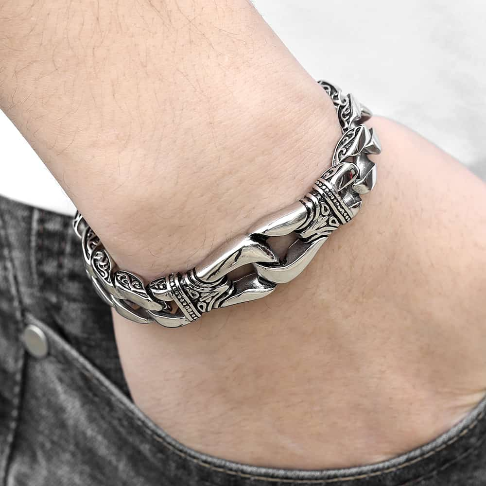 Mens Bracelet 316L Stainless Steel Curb Cuban Link Bracelet Totem Knot Charm Wristband Male Jewelry Dropship Gift for Men HB10Mens Bracelet 316L Stainless Steel Curb Cuban Link Bracelet Totem Knot Charm Wristband Male Jewelry Dropship Gift for Men HB10