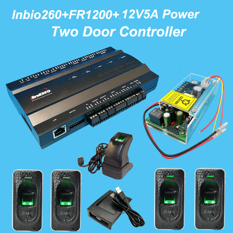 Two Door Controller fingerprint Access control System Kit+uninterrupted battery function Power+FR1200 Fingerprint Reader biometric face and fingerprint access controller tcp ip zk multibio700 facial time attendance and door security control system