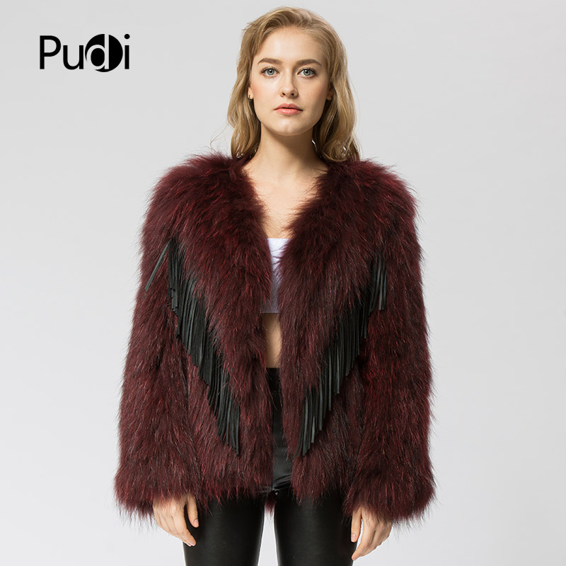 CR051 knit knitted 100% Real raccoon fur coat jacket overcoat women's fashion with PU leather tassels