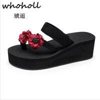Whoholl Summer Sandals Beaded Flowers Platform Wedges Women Slippers Fashion Flip Flops Bohemian National Style Women