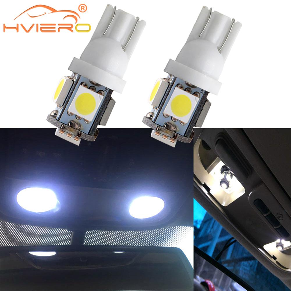 2X T10 Car Led W5W 5050 5SMD White Blue Red Auto Lights Wedge Reading Lamp Trunk Bulbs Backup Lamp License Plate Light DC 12V