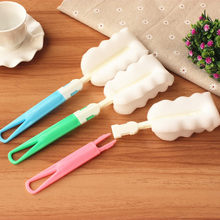 2018 New Kitchen Handle Sponge Brush Bottle Cup Glass Washing Cleaning Cleaner Tool #NE815(China)