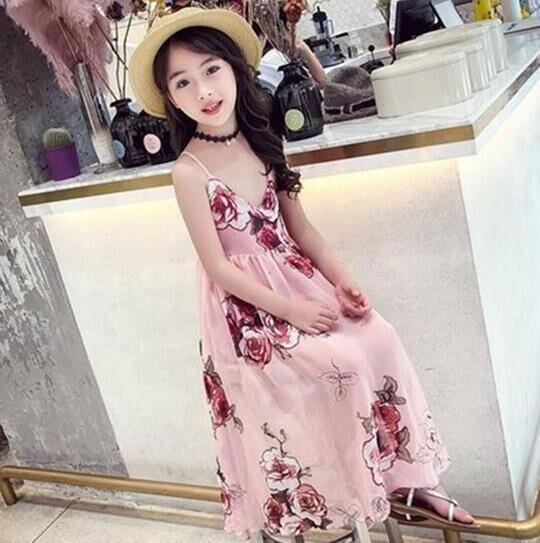 Dress Summer Dress Children Chiffon Beach Dress 12 11 10 9 8 7 6 5 4 3 2 Years