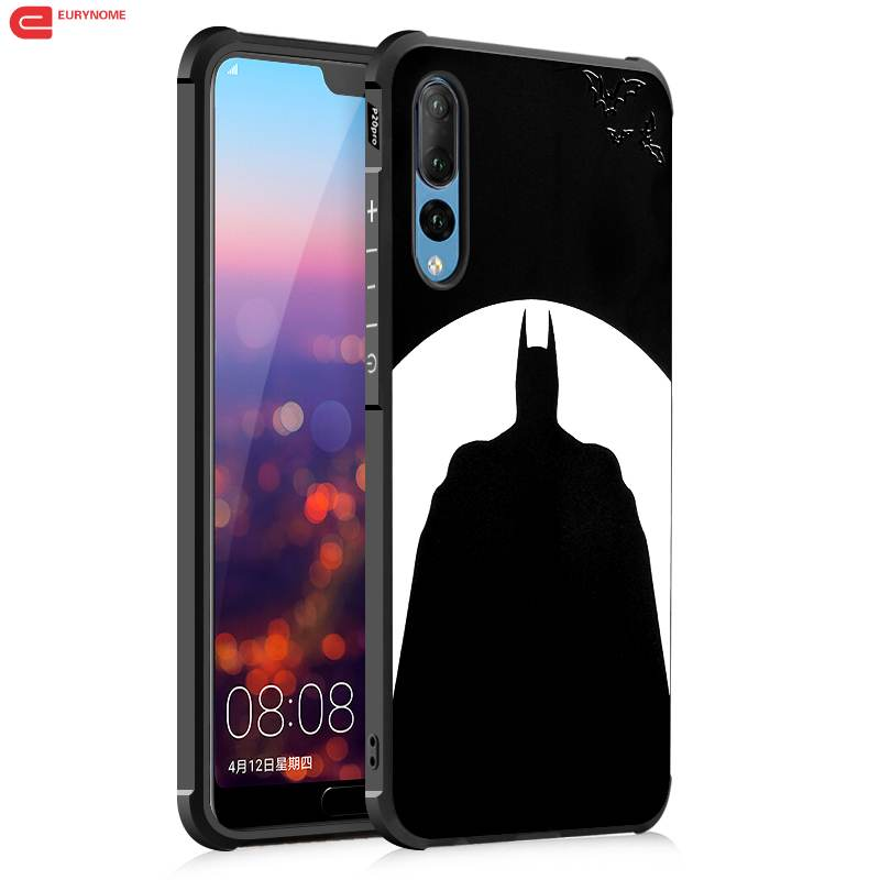 Retro 3D Stereo Relief Pattern Black cartoon batman Cat soft tpu cover Case for Huawei P20 pro P20 Case With Screen Film