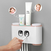 3 ways Toothbrush Holder Multifunctional Wall-Mounted Space-Saving Toothpaste Squeezer Kit with Dustproof Cover