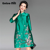 Womens Runway Fashion 2016 Winter Royal Embroidery Trech Coat Vintage Plus Size O Neck 3 4