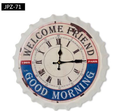 021094wall clock times quartz loft design fashion bottle cap welcome friend good morning