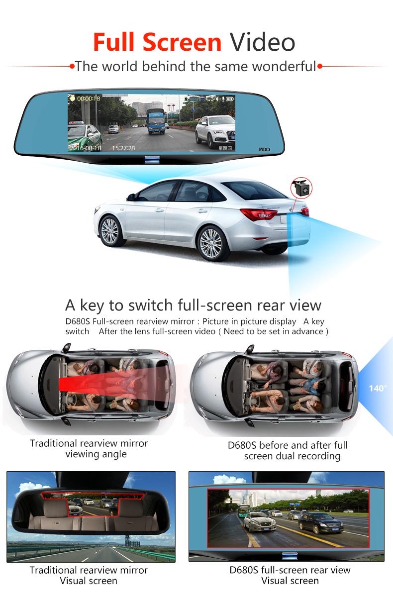 JADO D680S Car Dvr Camera Full HD 1080P Car Dvrs Dual Lens Recorder 6.86' Car Camera Dash cam ADAS Rearview Mirror Registrar 4