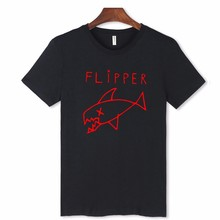 Flipper Fish Funny T-Shirt Men with 2016 Men Fashion Tshirts Brand in 3xl Casual Cotton Tee Shirt Men Short Sleeve Slim Fit XXS