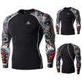 Muscle Men Compression Tight T-shirt  Men 's digital printing long - sleeved fitness quick - drying wear  T - shirt