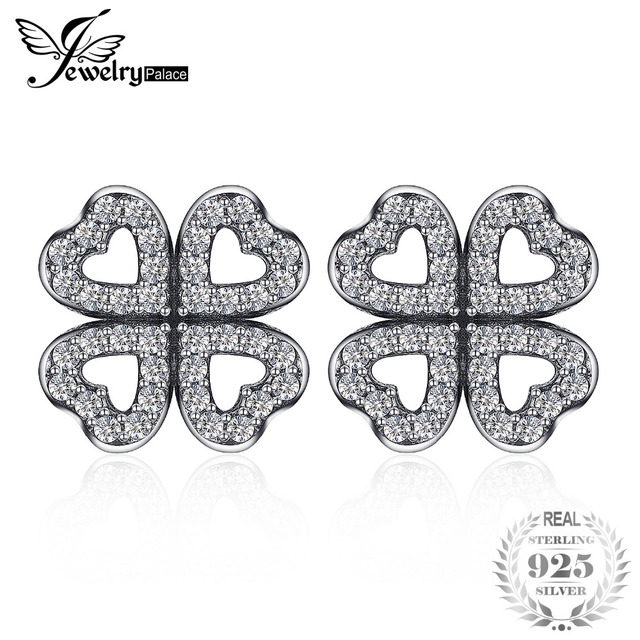 Jewelrypalace 925 Sterling Silver Openwork Dazzling Clovers Stud Earrings Gifts