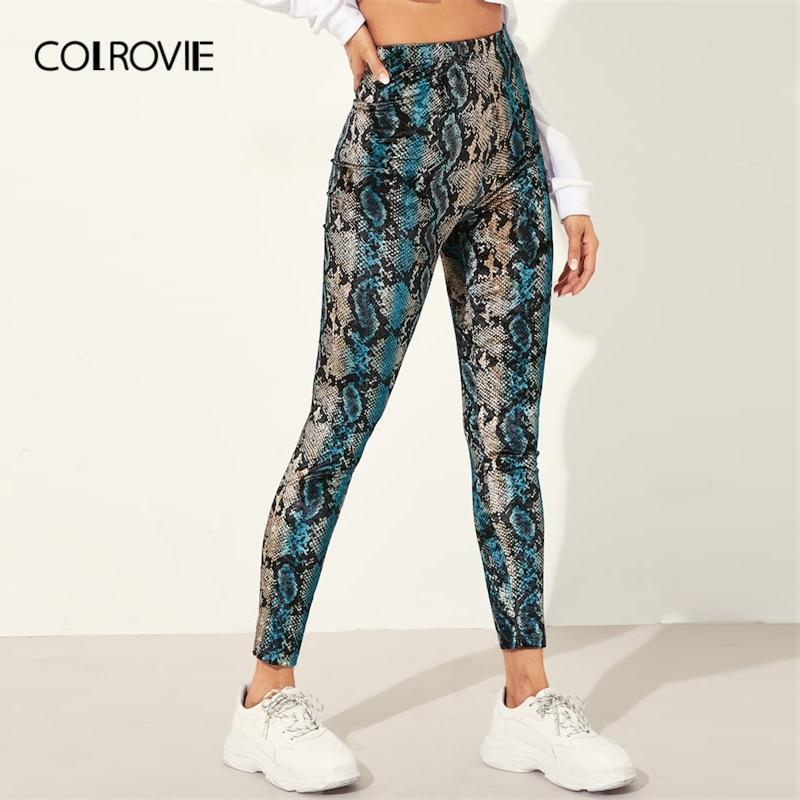 COLROVIE Animal Snake Skin Print Pattern Active Wear   Leggings   2019 Spring Streetwear Fashion Casual Pants Ladies Trousers
