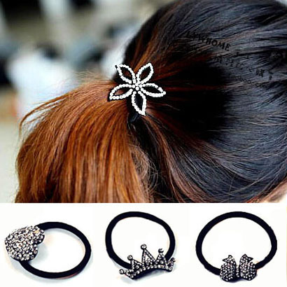 YouMap Black Charms Shiny Rhinestone Flower Heart Bow Crown Hair Bands Designer Girl Hairclip Jewelry Accessories A1R22C