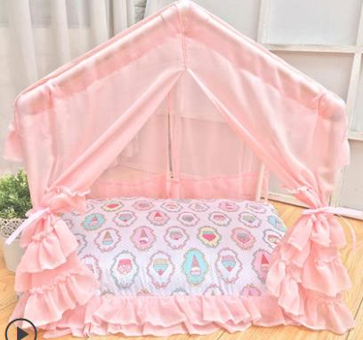 Fancy dog house portable lace pet bed princess Summer tent Ice cream pattern Cool Dog Cabin