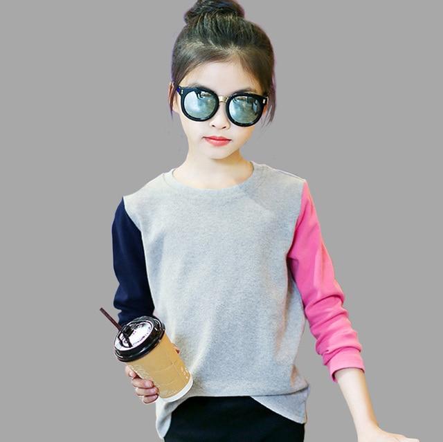 Girls T Shirts Kids Spring Summer Shirts For Girls Long Sleeve Patchwork Girls T-Shirt Tops 6 8 9 10 12 Years Big Girls Clothes