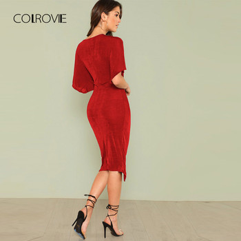COLROVIE Red V Neck Twist Front Half Sleeve Split Sexy Bodycon Dress Solid Elegant Midi Party Dress Women Dresses 1