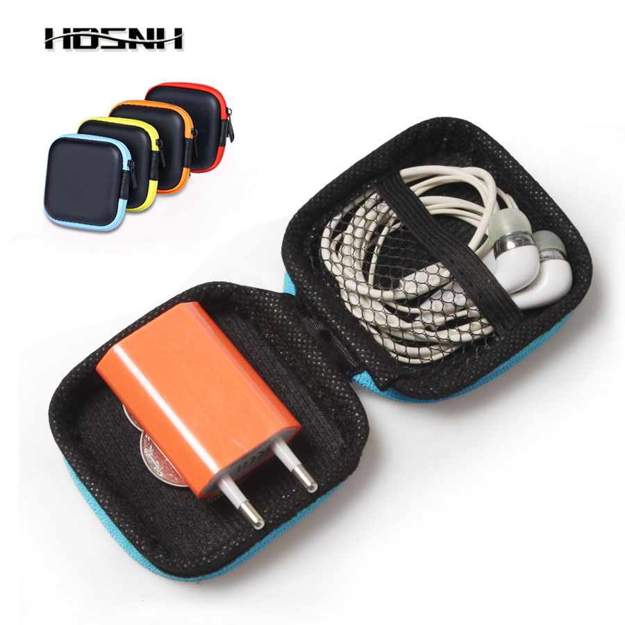 5Colors Square Portable Carry Headphones Memory Card U Disk Box  In Ear Zipper Earphone Storage Case Bag Headphone Accessories