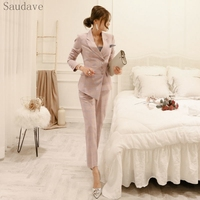 New Fashion Asian women 2 Piece Sets Long Sleeve Tops Jacket And Pencil Pants High Quality OL Party Office Lady Pants Suit
