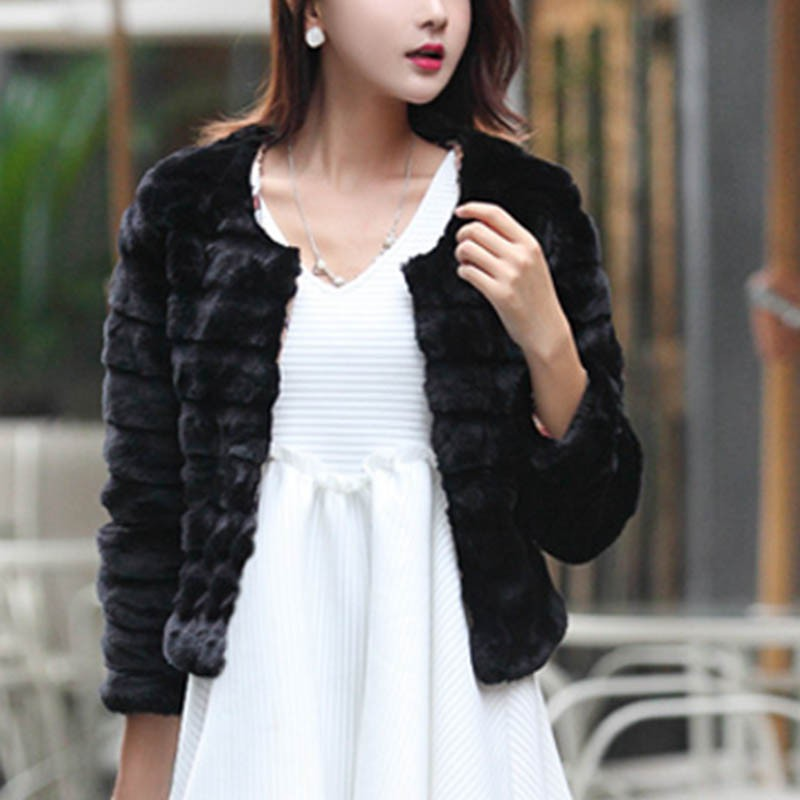 Autumn Fashion Women Jacket Elegant Faux Rabbit Fur Coat Short Slim Outerwear Fur Tops Plus Size 3XL
