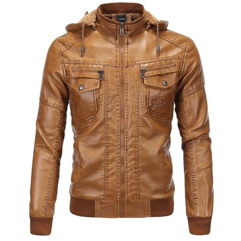 Winter Thick Warm Men's Fleece Inner Leather Jackets Imitate Sheepskin Male Slim Casual Windbreakers Hooded Jackets Coat Outwear