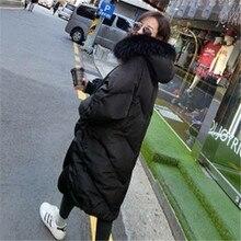 Новинка, пальто большого размера, толстая зимняя куртка для женщин, с капюшоном, с меховым воротником, пуховое хлопковое пальто, длинная куртка, женские парки, пальто Макси