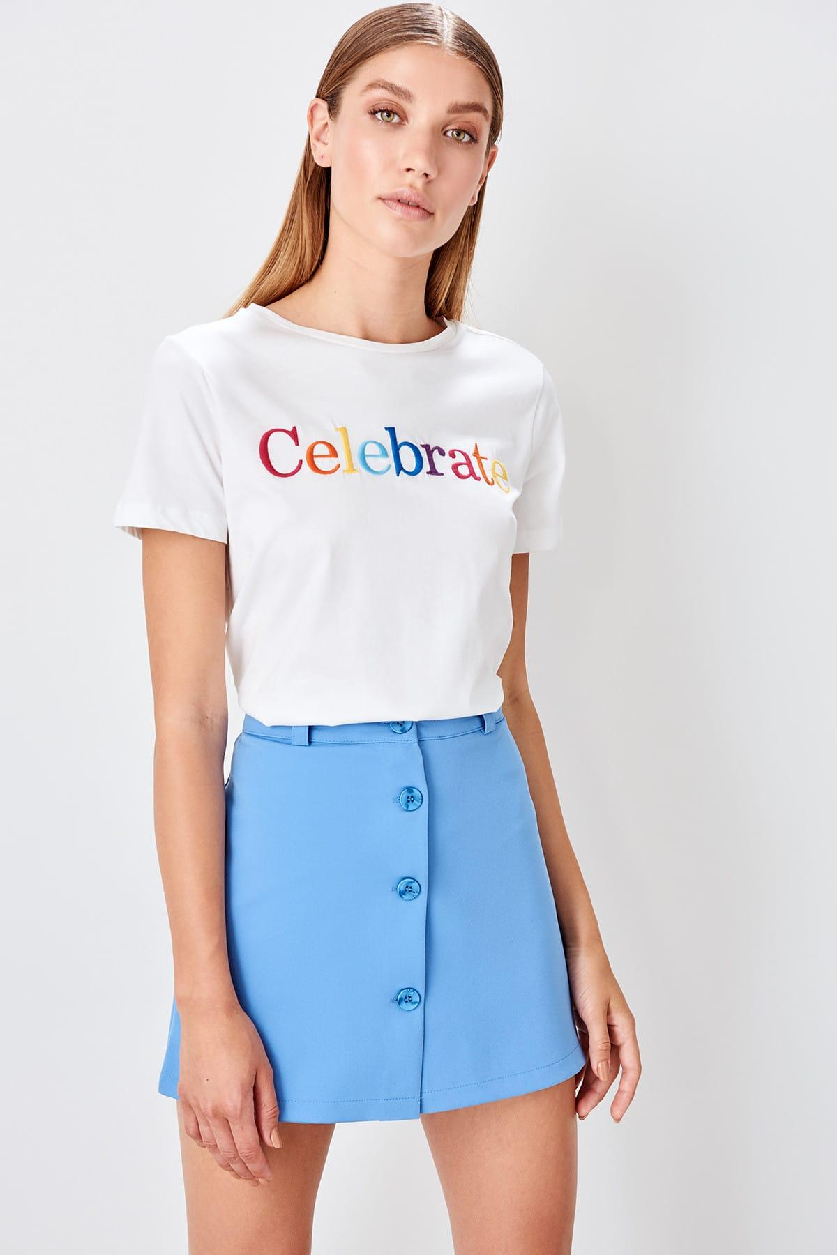 Trendyol Mavi Button Detail Shorts Skirt TWOAW20SR0009