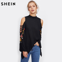 SHEIN Casual Women Tops Crisscross Open Shoulder Embroidery Flare Sleeve Blouse Black Stand Collar Long Sleeve