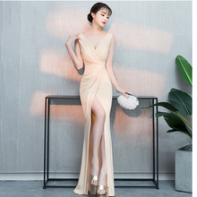 D179 high stretchy v-neck sexy beige front split small train long women dress