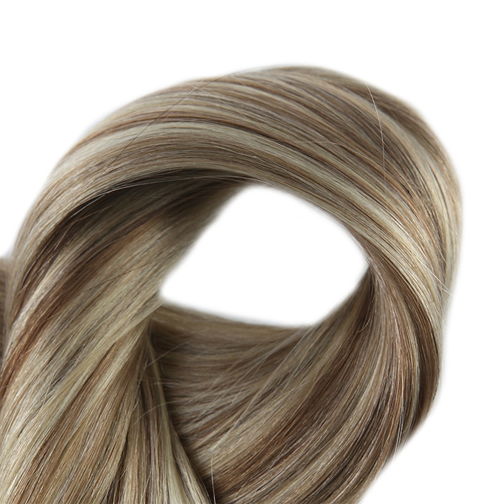Full Shine Clip In Real Hair Extensions Double Wefted Blond Roots Color 10 And 613 Blonde Highlighted 100g Remy Hair With Clips in Clip in Full Head from Hair Extensions Wigs