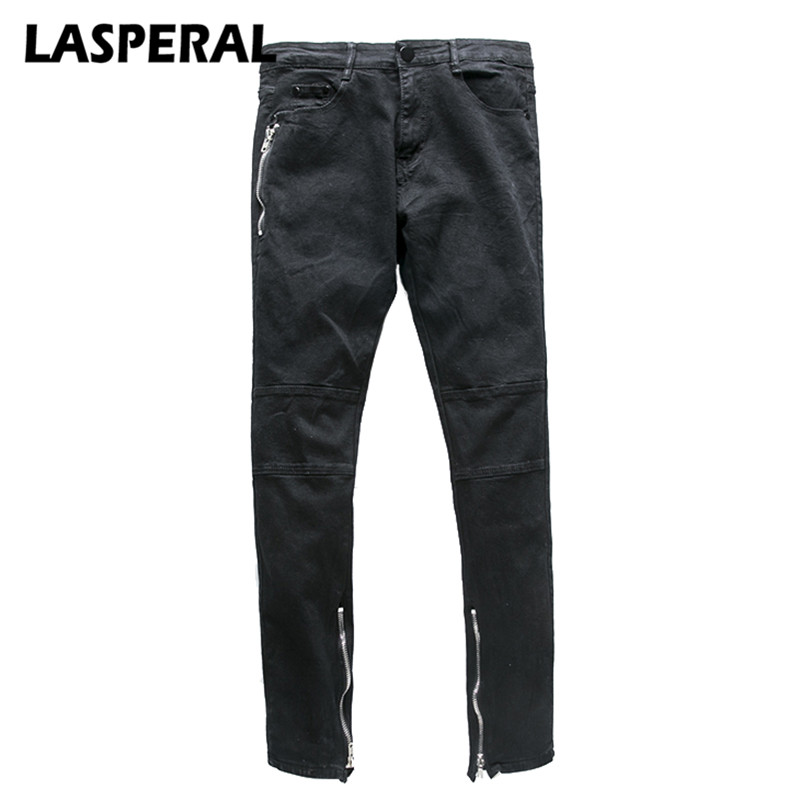 LASPERAL 2017 Spring Autumn New Mens Jeans Fashion Washed Motorcycle Side Zipper Designed Male Slim Elastic Denim Trousers new fashion spring autumn mens jeans slim fitness cotton elastic pants male clothing denim trousers