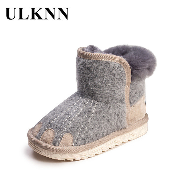 ULKNN 2018 Children Winter Ankle Boots Kids Cashmere Paw Baby Snow Boots  Girls Velvet Plush Boot Boys Warm School Shoes Toddle c33911f383ed