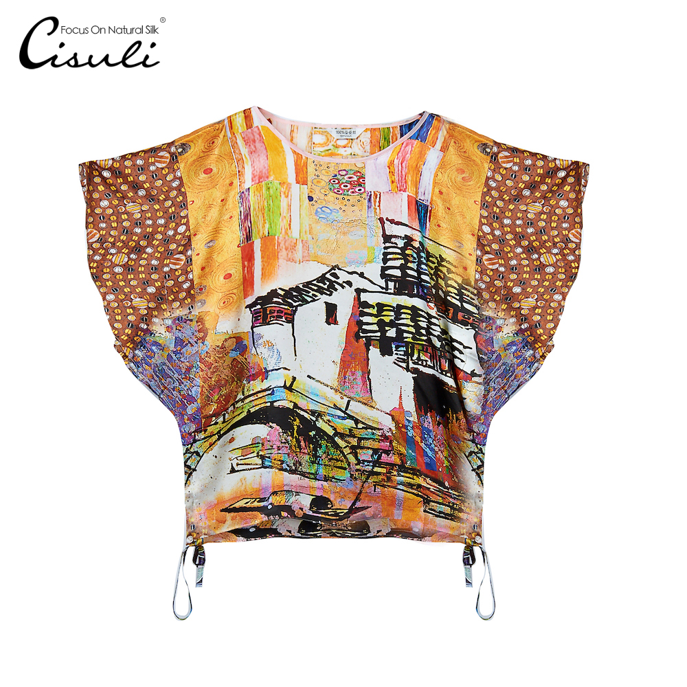 CISULI 100% Silk Satin Printed Blouse Women Fashion Summer Shirts Butterfly Sleeves Women's Clothing Feminine Blouse
