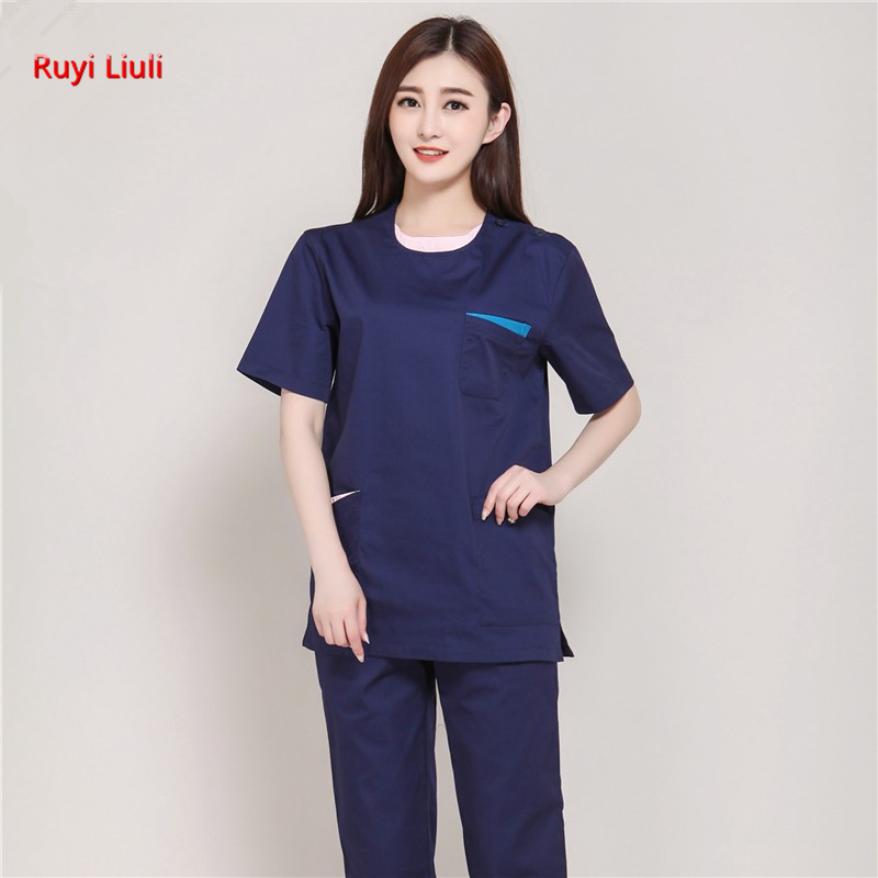The Operating Clothes Brush Hand In The Oral Pharmacy Doctor's Work Clothes Summer Set Round Collar Korean Version