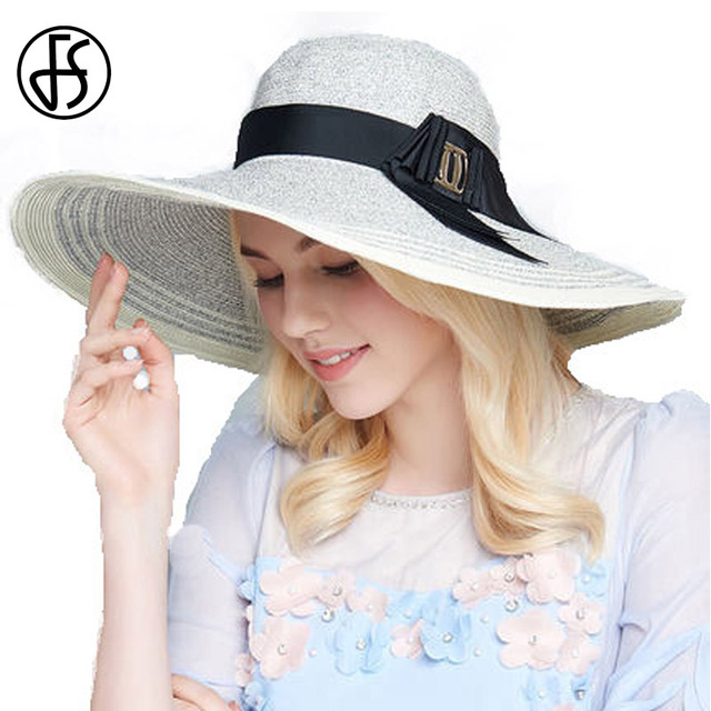 Estate Grande cappello a tesa Larga Bianco Chiesa Cappelli Donna Beach Cappello  di Paglia Stripes Patchwork 1bb97dc42c83