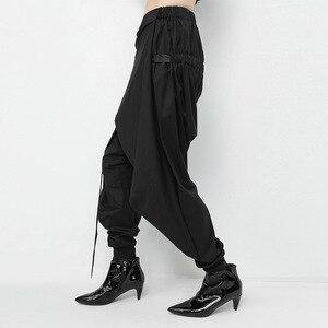 Image 3 - [Eam] 2020 primavera preto solto cintura elástica rendas até emendado personalidade casual harem calças moda nova feminina la982