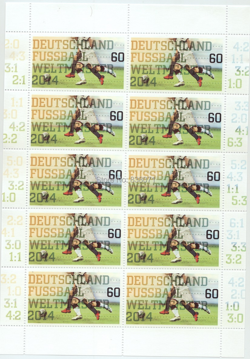 Deutschland Post ,Germany stamps: 2014 Brazil World Cup , Mini-Shieet , 10 pieces ,UNC , free shipping brazil football fans caxirola cheer horn for 2014 world cup