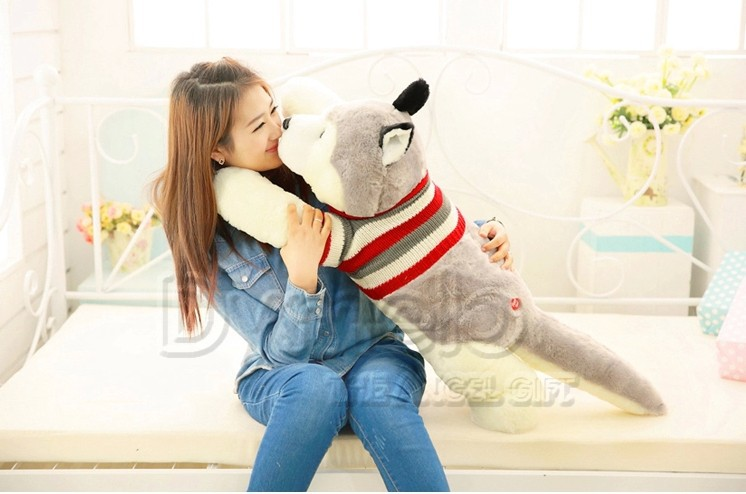 stuffed animal lovely husky dog plush toy about 100cm prone dog doll 39 inch throw pillow sleeping pillow toy h889 рубашка animal husky shirt greeny