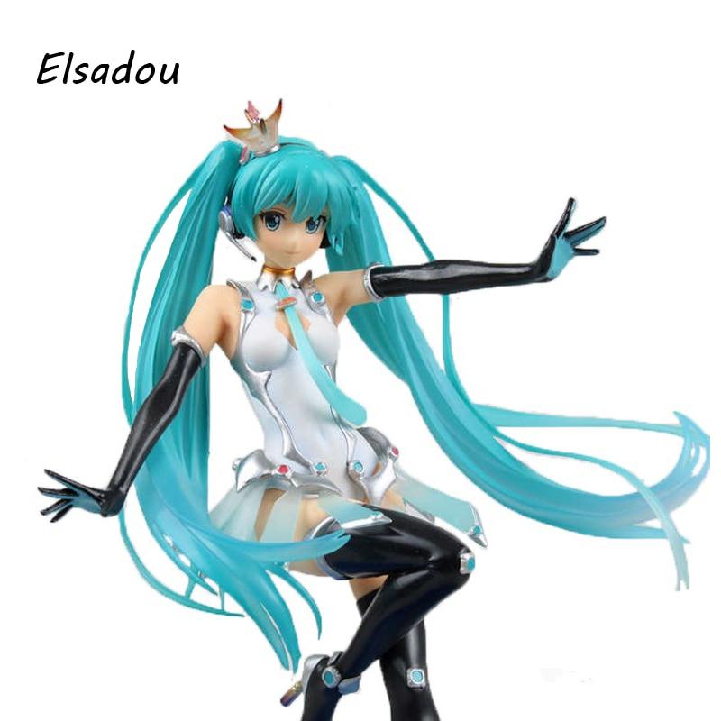 Elsadou Hatsune Miku Action Figures  Crown Racing Series Collection Toy Doll закладка для книг hatsune miku