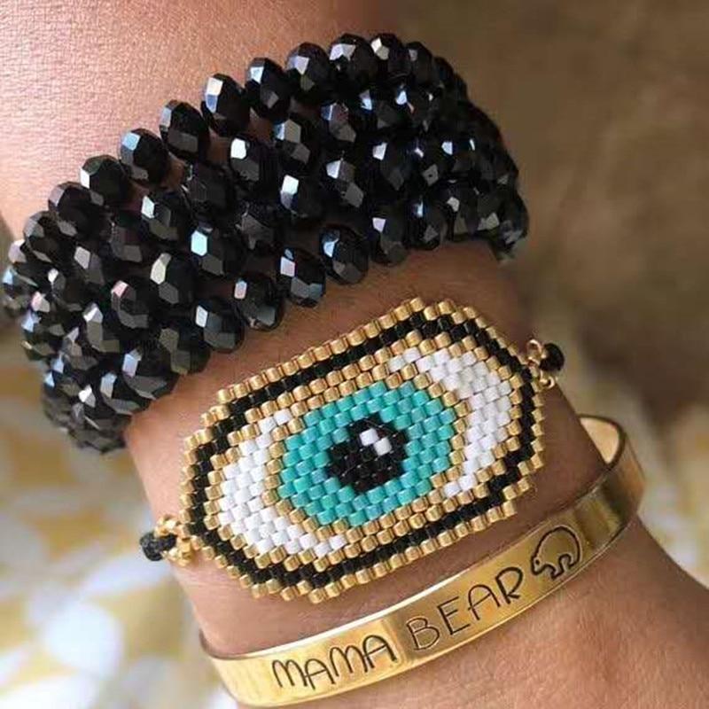 Go2boho Dropshipping Evil Eye Bracelet Gold MIYUKI Eye Bracelets Delica Seed Beads Beadwork Handmade Woven Women Gifts Jewelry все цены