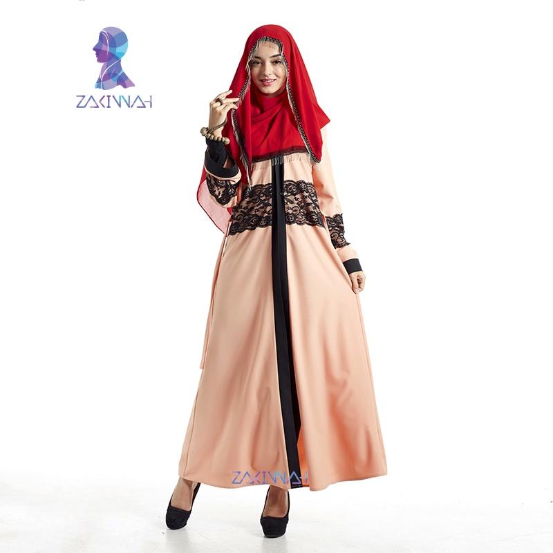 Nya mode kvinnor maxi långärmad lång klänning spets kaftan - Nationella kläder