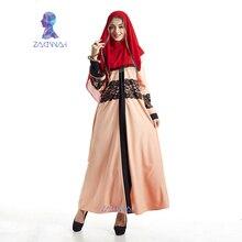 Nueva maxi de manga larga de las mujeres de moda vestido largo de encaje kaftan islámico abaya ropa musulmana turcos árabes turcos envío gratis