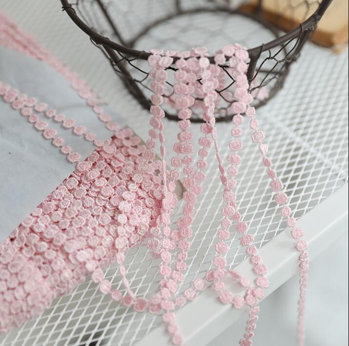 10 метров симпатичная Водорастворимая кружевная отделка в горошек, вышитая аппликация из полиэстера, розовая кружевная отделка, шитье, сдел...