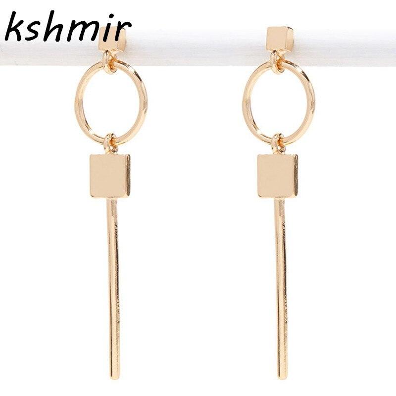 Populares aretes de moda retro pendientes cuadrados circulares pendientes largos de oro 2017 diseño de geometría y collares exagerados