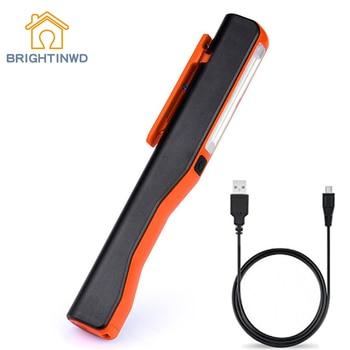 BRIGHTINWD, alta calidad, 2 en 1, recargable, LED COB, trabajo o camping, luz para inspección, Linterna de mano, lámpara Led recargable magnética