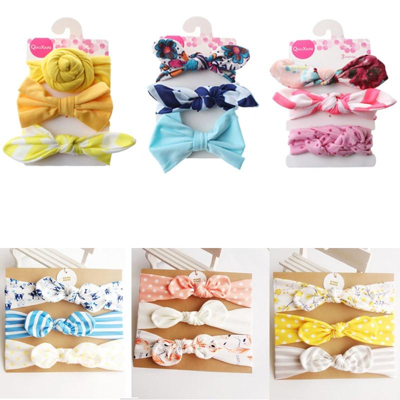3pc Big Bowknot Baby Girls Headbands Floral Print Elastic Baby   Headwear   Hair Turban Kids Haarband Baby Girl Hair Accessories Set