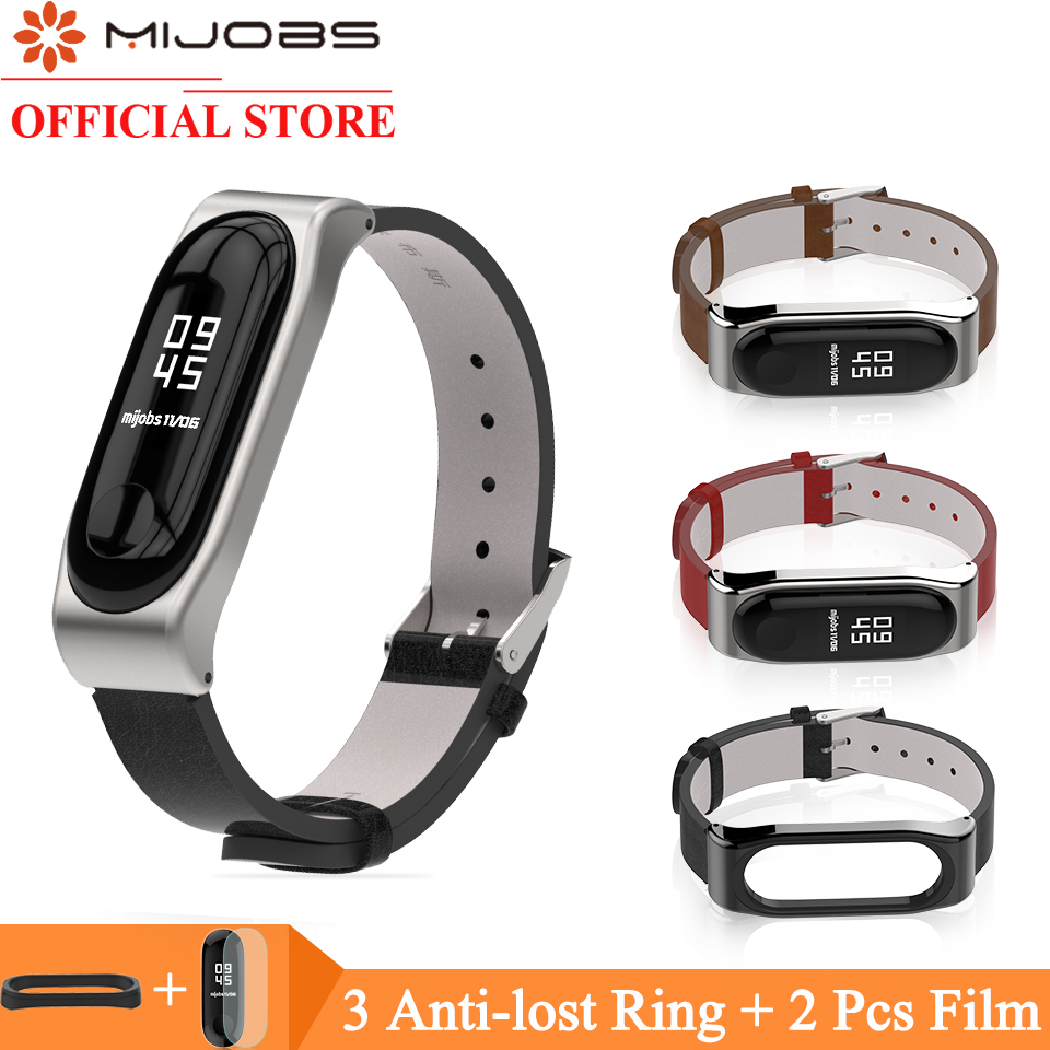 Mijobs PU Leather Strap For Xiaomi Band 4 Smart Watch Accessories Miband 3 Strap Wristband For Xiaomi Band 4 Wrist Bracelet