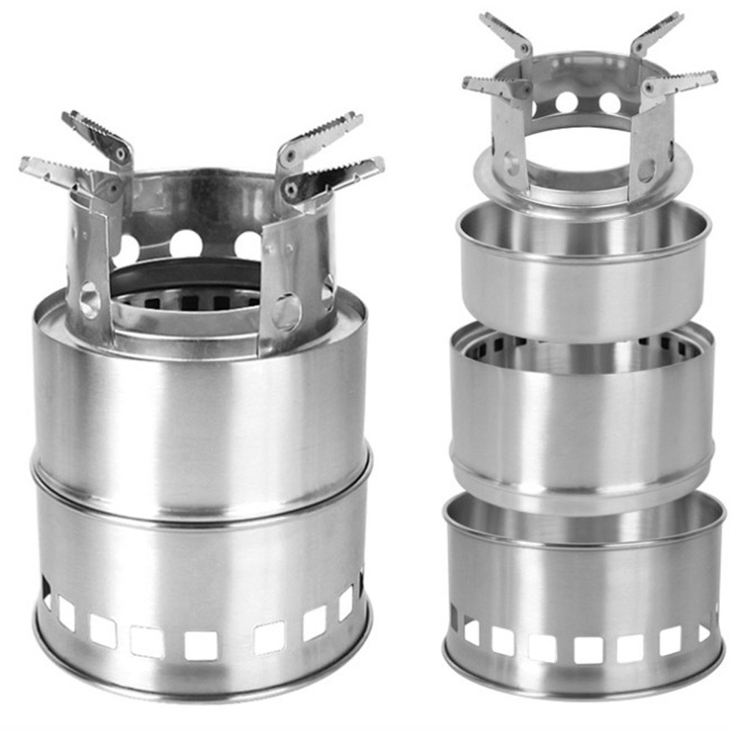 Camping Stove Portable Stainless Steel Wood Stove camping equipment for Outdoor hiking camping Traveling Picnic BBQ 13.56 image