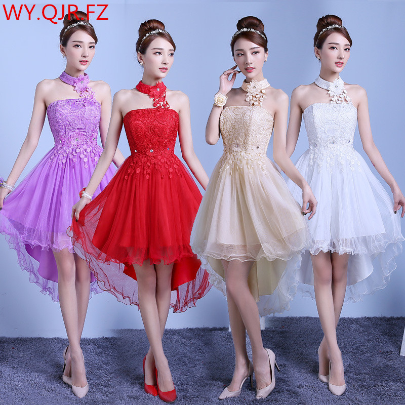 PTH-ZX#Before long after short Elastic waist lace   bridesmaid     dresses   bride wedding prom pary   dress   girl 2019 red champagne white