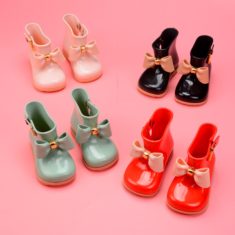 Mini Melissa Kids Spring Autumn baby Girls Rain Boots Warm Beauty Bow Rainboots Fashion Rubber Shoes Toddler Kids Jelly shoes ...