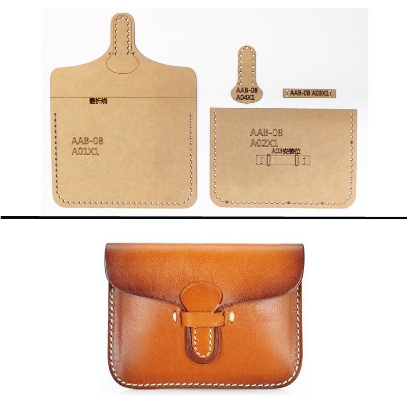 1set Hard Kraft paper Stencil Template For DIY Leather Handmade Craft women handbag Shoulder bag Sewing Pattern 11.5x8.5cm